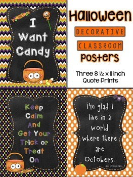 Halloween Classroom Decoration Quotes Poster Set