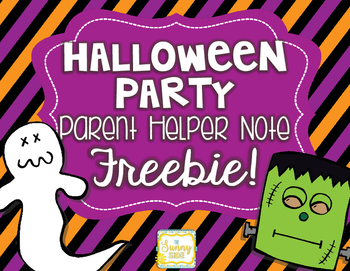 Halloween Classroom Party Parent Note -- FREEBIE!