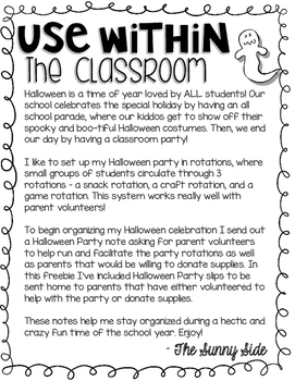 Halloween Classroom Party Parent Note -- FREEBIE!