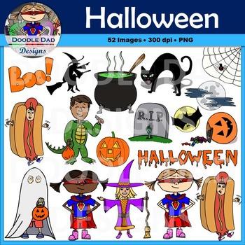 Halloween Clip Art (Costumes, Pumpkin, Jack-o-lantern, Spooky, Witch, Spider)