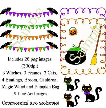 Halloween Clip Art - 3 Little Witches with Accessories!