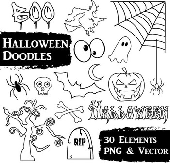 Halloween Clip Art - 31 Hand Drawn PNG and Vector Images