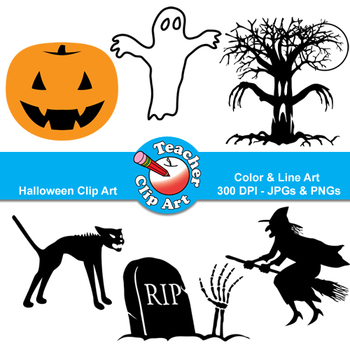 Halloween Clip Art — Witch, Ghost, Jack O Lantern and more