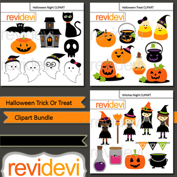 Halloween Clip Art Bundle - Halloween Trick or Treat Clipart