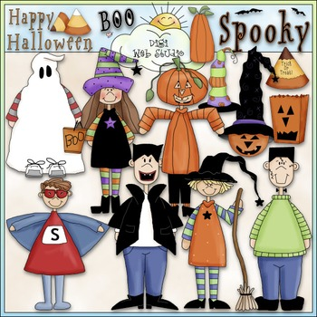 Halloween Clip Art Bundle - Trick or Treat - 4 Clip Art & B&W Sets