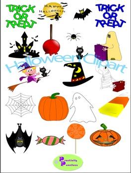 Halloween Clip Art Bundle color and blackline