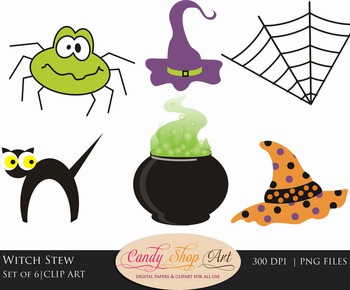 Halloween Clip Art, Cat, Spider, Witches Hat,  Witches Cauldron