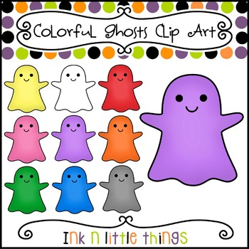 Halloween Clip Art - Colorful Ghost Clipart