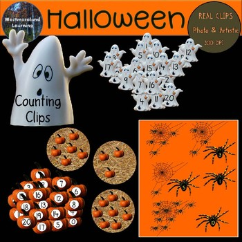 Halloween Clip Art Counting Set Digital Stickers FREEBIE