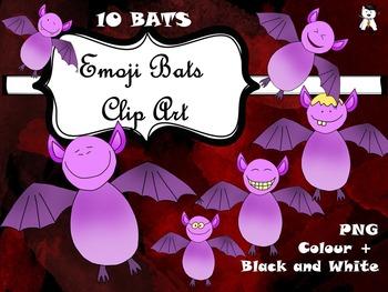 Halloween Clip Art - Funny Emoji Bats