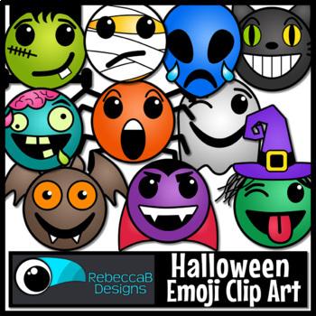 Halloween Emoji Clip Art by RebeccaB Designs | Teachers Pay Teachers