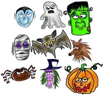 Halloween Clip Art Faces (free!)