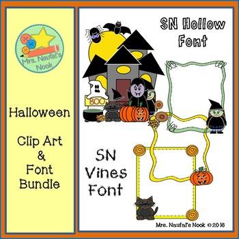 Halloween Clip Art and Font Bundle