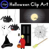 Halloween Clip Art Full Moon Witch Hat Dangling Spiders Web Trick Or Treat
