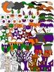 Halloween Clipart Haunted House, Bats, Mummy, Jack O'Lanterns