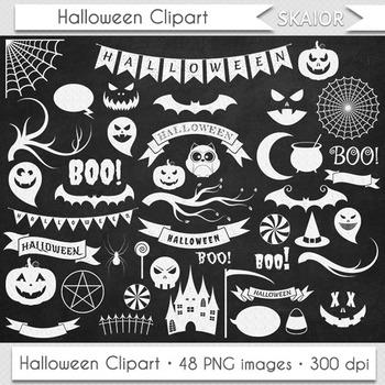 Halloween Clipart Chalkboard Halloween Clip Art Bat Pumpkin Ghost Castle Witch
