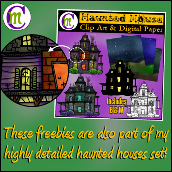 Halloween Clip Art Haunted House | Sept 2017 Clip Artists Collab FREEBIE