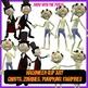 Halloween Clip Art Inc Vampires, Zombies, Pumpkin Man, Ghosts with Blacklines