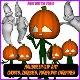 Halloween Clip Art Inc Vampires, Zombies, Pumpkin Man, Gho
