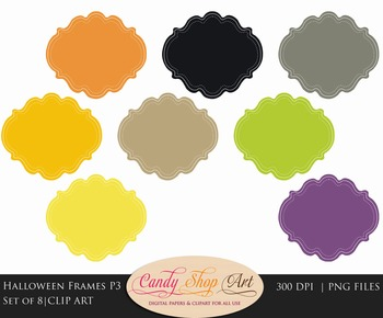 Halloween Clip Art Labels, Scallop Frame Clip Art, Scallop Label
