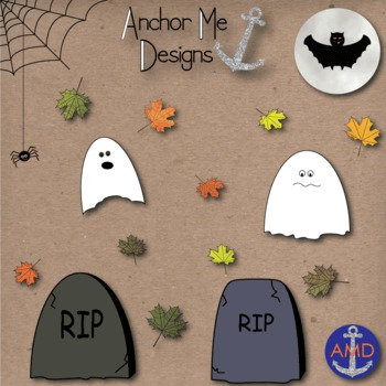 Halloween Clip Art- Leaves, Pumpkins, Trees, Ghosts, Graves, Candy