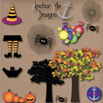 Halloween Clip Art & Paper Bundle- Leaves, Pumpkins, Trees, Ghosts, Graves