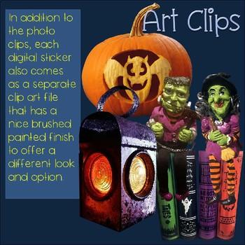 Halloween Clip Art Photo & Artistic Digital Stickers BIG 72 image set