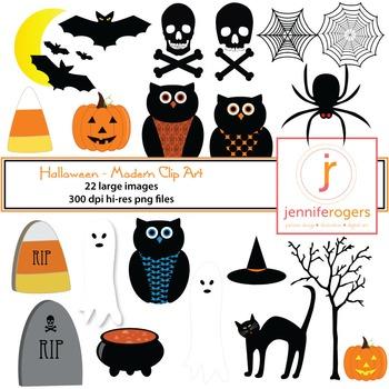 Halloween Clip Art - Pumpkins, Ghosts, Bats, Spooky Tree,
