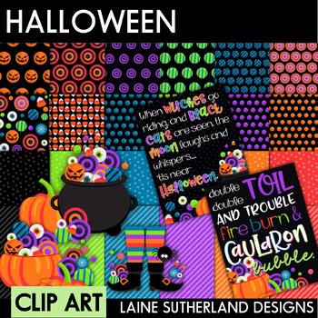 Halloween Clip Art Set - Bubble Bubble Toil & Trouble