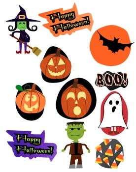 Halloween Clip Art Set - Frankenstein, Witch, Ghost, Jack-o'-lanterns, Pumpkins