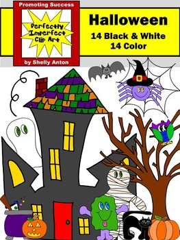 Halloween Clipart Commercial Use Haunted House Ghosts Bats