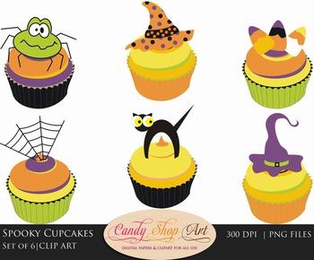 Halloween Clip Art, Spooky Cupcakes Clip Art, Halloween Cupcake Clipart