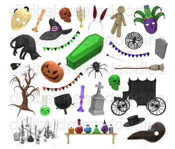 Halloween Clip Art - Spooky Holiday with Witch, Spider, Cat Digital PNG Graphics