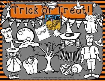 Halloween Clip Art Trick or Treat by Kid-E-Clips Commercial and Personal