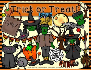 Halloween Clip Art Trick or Treat by Kid-E-Clips Commercia