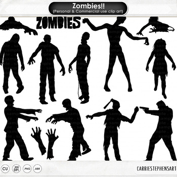 Halloween Clip Art, Zombie ClipArt Silhouettes, Digital Stamps