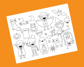 Halloween Clip Art | Coloring Activity | Ghost | Vampire | Witch | Bat