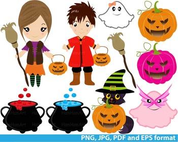 Halloween Clip Art trick or treat school teachers pumpkin super hero party -128-