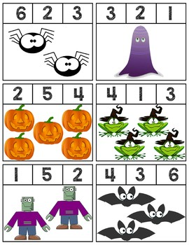 Halloween Clip Cards | Numbers 1-6