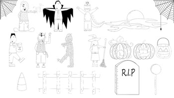 Halloween Clip Art Kids Parade colored and Black and white