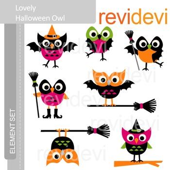 Halloween Clip art - Lovely Halloween Owls E076 - cute clipart