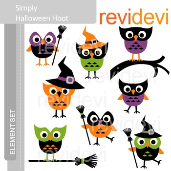 Halloween Clip art - Simply Halloween Hoot E075 - Cute owls clipart