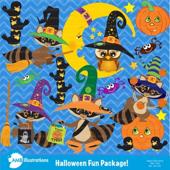 Halloween Clipart, Raccoon and Crows Clipart-297