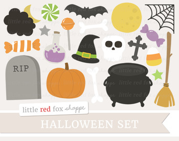 Halloween Clipart; Potion, Pumpkin, Cauldron, Witch, Broom, Candy, Skull, Bat