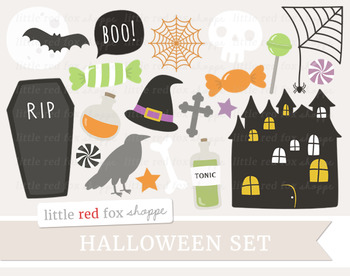 Halloween Clipart; Haunted House, Coffin, Witch Hat, Crow,