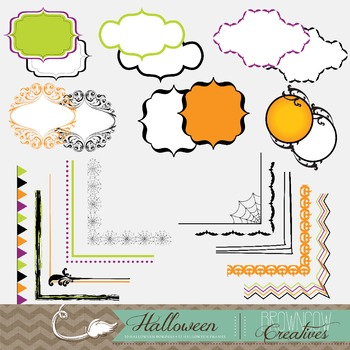 Halloween Clipart, Background, Border & Frame Bundle