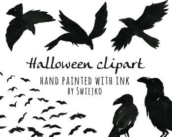 Halloween Clipart, Black Ravens, Scarry, Silhouette