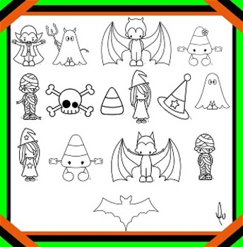Halloween Clipart -Black and White Line Art