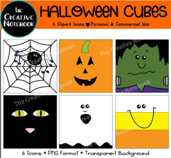 Halloween Clipart | Cubes | Ghost, Spider Web, Candy Corn, Pumpkin, Frankenstein