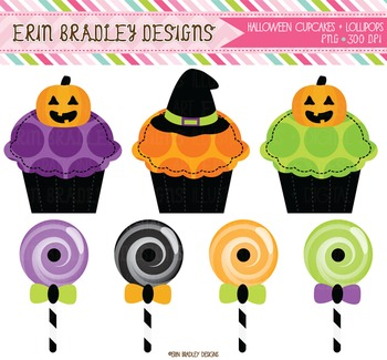 Halloween Clipart - Cupcakes and Lollipops